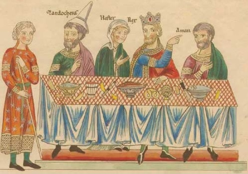 A painting of four people at a dinner table from the 12th century.